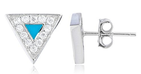 Sterling Silver Stud Earrings Turquoise Triangle with CZ Stones