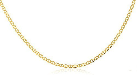 "Women's Real 14k Yellow Gold 1.5mm Mariner Chain Necklace - 20"" - 30"" Available"
