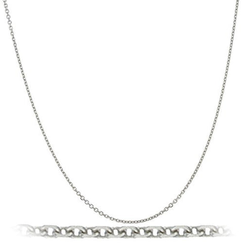 Solid 14K White Gold 1mm 16 Inch Cable Chain Necklace