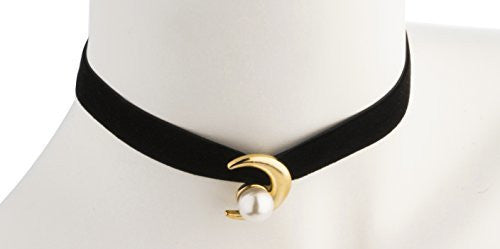 Black Thick Velvet Choker with Crescent Moon Simulated Pearl Pendant and Adjustable Closer