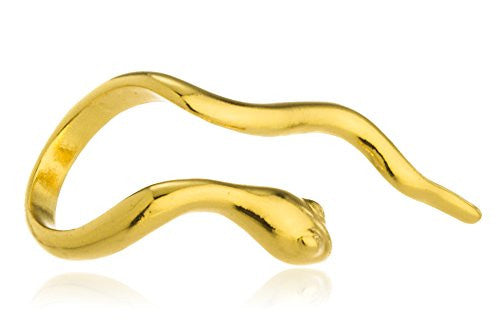 Goldtone Curvy Snake Adjustable Ring -...