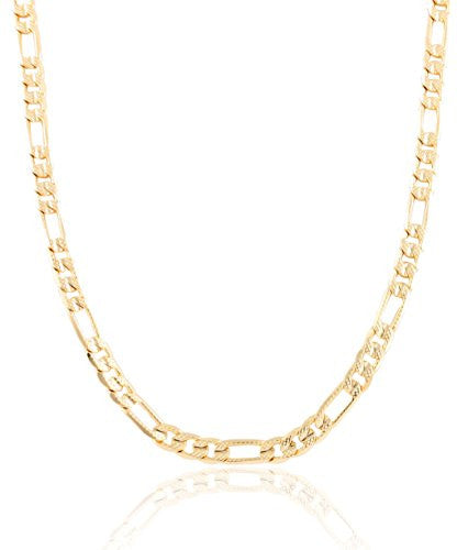 Goldtone 6mm Frosted Figaro Chain (8...