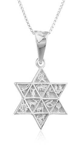 925 Sterling Silver Jewish Star with Eygptian Symbols Pendant and a 24 Inch Box Necklace