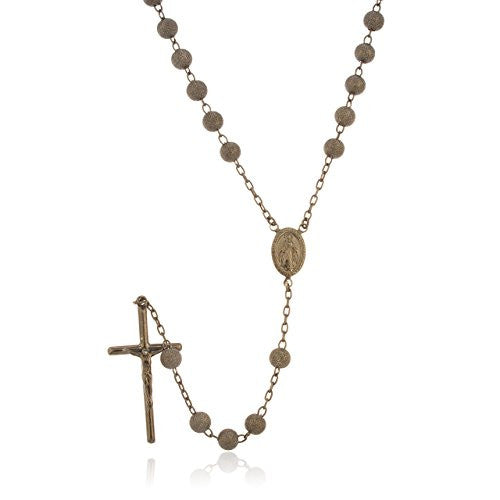925 Sterling Silver 6mm 32 Inch Hematite Frosted Sandblast Beaded Rosary Necklace with Dangling Cross