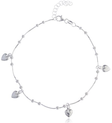 Sterling Silver Anklet 9 Inch Adjustable Snake Chain with Beaded Heart Charms