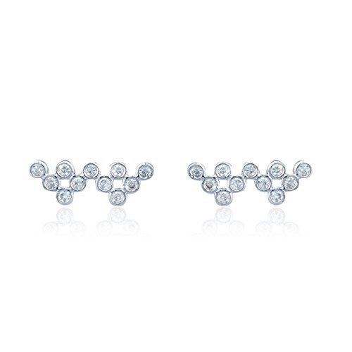 Sterling Silver Stud Earrings with CZ...