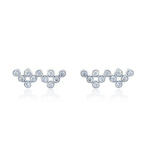 Sterling Silver Stud Earrings with CZ Stone Circle Vine Style