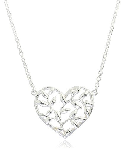 925 Sterling Fancy Heart Pendant Adjustable 16 Inch Link Necklace