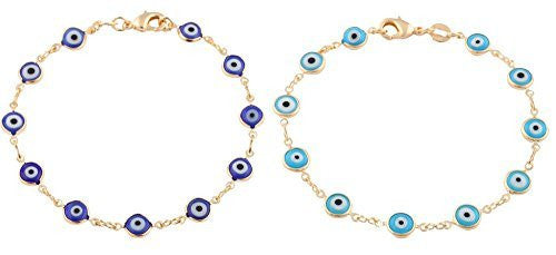 Gold Overlay With Navy Blue and Light Blue Mini Evil Eye Bracelet Set