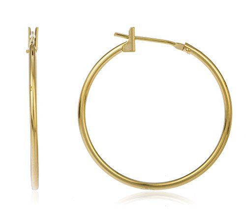 14k Yellow Gold Basic Click Hoop Earrings 12mm - 25mm