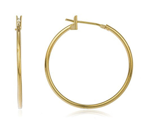 14k Yellow Gold Hoop Earrings Basic 25mm Click - All Sizes Available