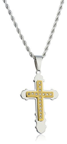 Large Stainless Steel Two-tone Double Cross Key Design Pendant with Stones and a 24 Inch Rope Chain Necklace