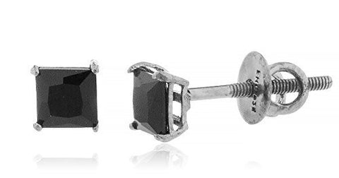925 Sterling Square Black Cz Stone Stud Earrings (Multiple Sizes Available)