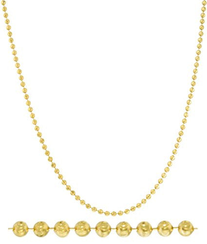 14k Yellow Gold 3.8mm Moon Cut Chain 24 Inch Necklace