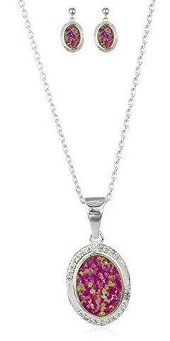 925 Sterling Silver Created Opal Round Pendant Necklace with Matching Earrings Jewelry Set (Pink)