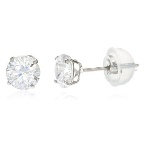 14k White Gold 4mm Round Basket Setting Cz Stud Earrings with Silicone Back