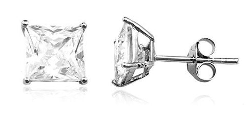 925 Sterling Silver Cz Square Basket Setting Stud Earrings (yellow-gold-plated-silver, 7 Millimeters)