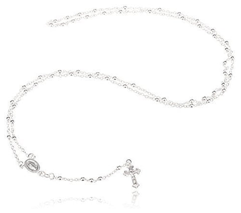 925 Sterling Silver 3mm 24 Inch Beaded Rosary Necklace with Dangling Cross