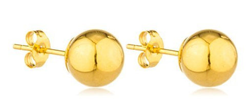 Real 14k Yellow Gold Classic Ball Earring Studs with 14k Push Backs - 2mm to 8mm Available