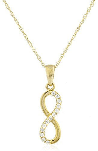 10k Yellow Gold Infinity CZ Pendant with an 18 Inch Singapore Necklace