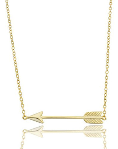 925 Sterling Silver Vermeil Arrow Pendant 17 Inch Necklace