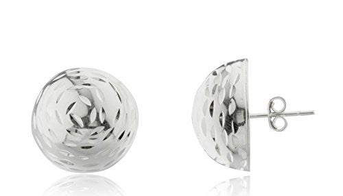 925 Sterling Silver Half Ball D-Cut...