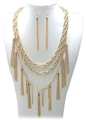 Twisted Rope Chain Necklace with Link Chain Dropping Tassels Matching Jewelry Set (Goldtone)