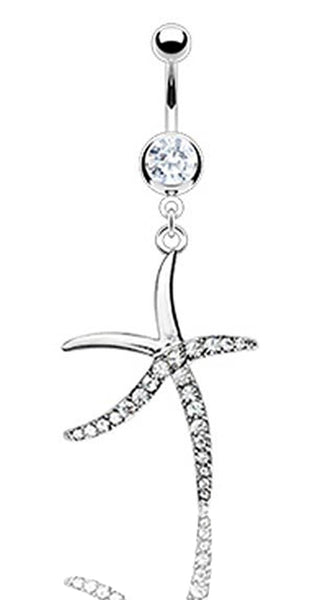 Cubic Zirconia Starfish Belly Ring