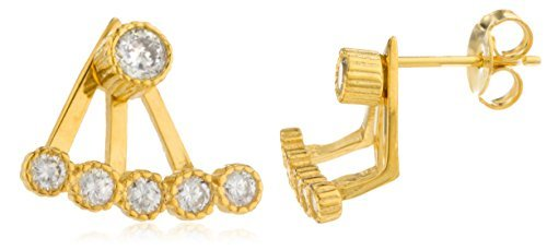 925 Goldtone Bezel Cubic Zirconia Curved Bar Ear Jacket Stud Earrings