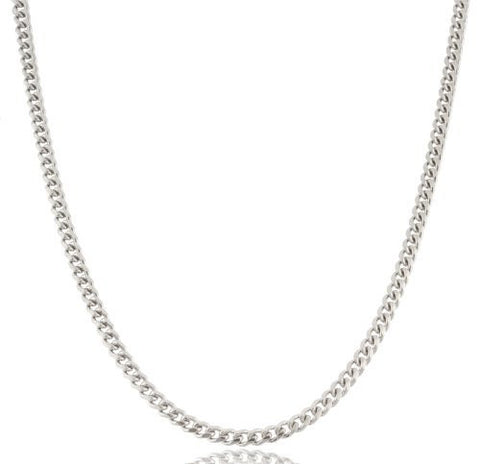 3mm Rhodium Plated Sterling Silver 24 Inch Miami Cuban Chain