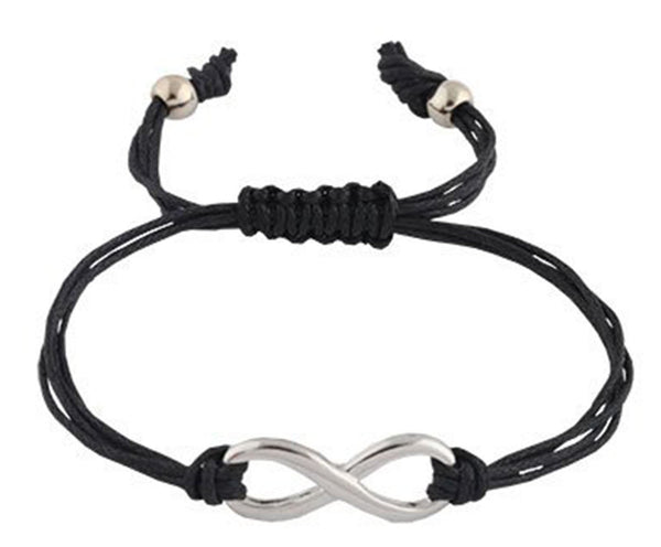 4 Pieces Of Black With Silvertone Infinity Adjustable String Bracelet