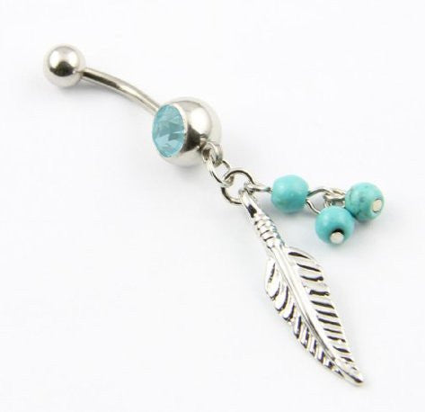 4 Pieces Of Leaf Dangle With Blue Beads 316L Surgical Steel Navel Belly Button Ring