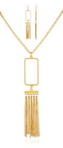 Goldtone Tassael Pendant with Matching Earrings