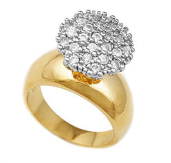 Ladies Goldtone 15mm CZ Round Cluster Engagement Ring Sizes 5-10