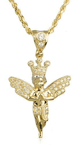 10K Yellow Gold Angel with Cubic Zirconia Stones Rope Chain