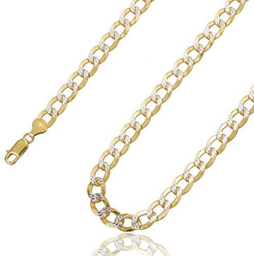 925 Sterling Silver Two Tone Prolux 8mm Flat Cuban Chain Pave Necklace (28 Inches)
