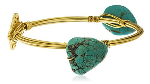 Goldtone with Turquoise Stones with Gated Charm Large Bangle Bracelet
