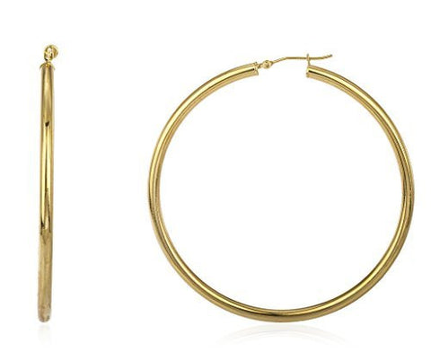 10K Yellow Gold Hoop Earrings 3mm Basic Pincatch - Multiple Sizes Available (25 Millimeters)