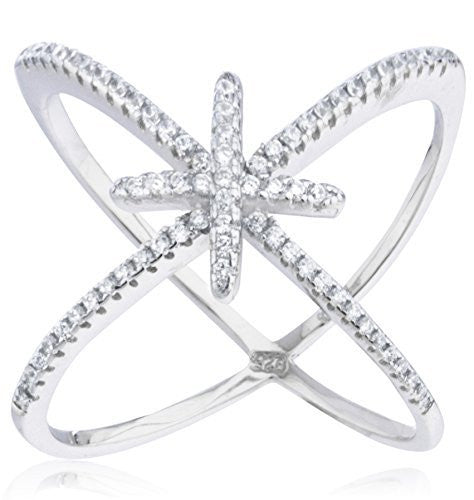 Ladies 925 Sterling Silver 'X' Ring with Center Cross & Cubic Zirconia Stones