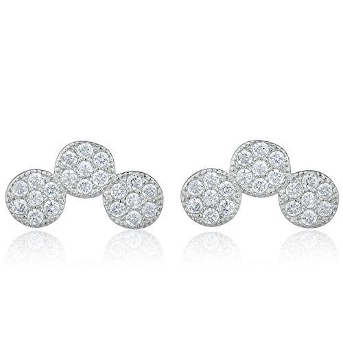 Sterling Silver Stud Earrings with CZ Stone Triple Circle