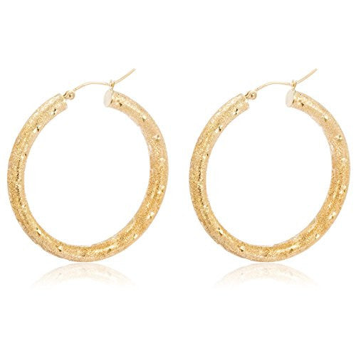 Pair of 10K Yellow Gold Hoop Earrings 4mm 1.5 Inch (38.1mm) Frosted