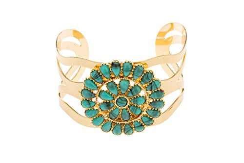 Goldtone Swirl Design with Centered Turquoise Pendant Cuff Bangle Bracelet