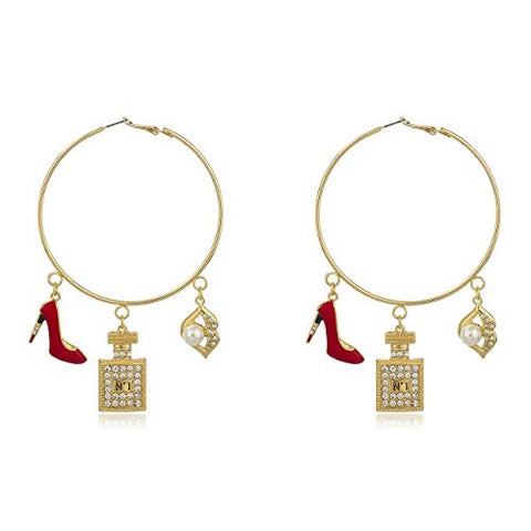 Goldtone Oversized Hoops with Red Stiletto and Assorted Lady Charms with Clear Stones