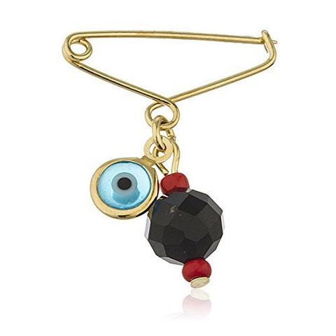 Two Year Warranty Gold Overlay Black Crystal Ball with Evil Eye Charm 1 Inch Drop Brooch