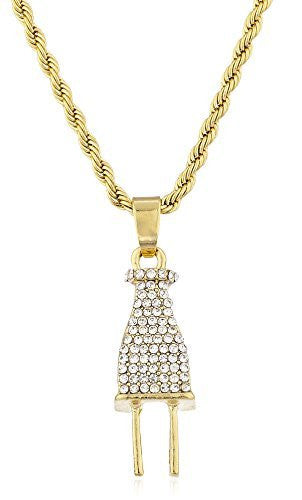 Men's 3D Plug Micro Pendant Necklace with 24.5 Inch Rope Chain - Available in Goldtone or Silvertone