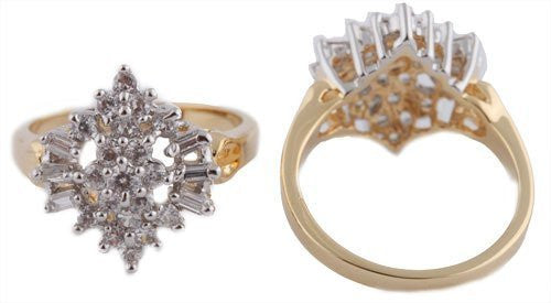 Gold Cubic Zirconia Cluster with Baguettes Style Engagement Ring Sizes 7-9