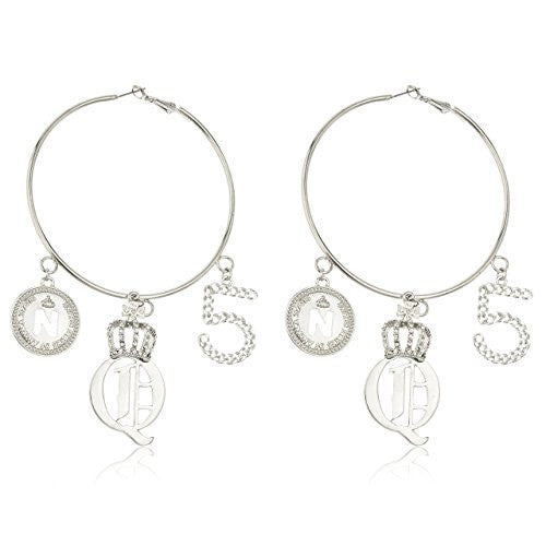 Silvertone 3 Inch Hoop Earrings with...