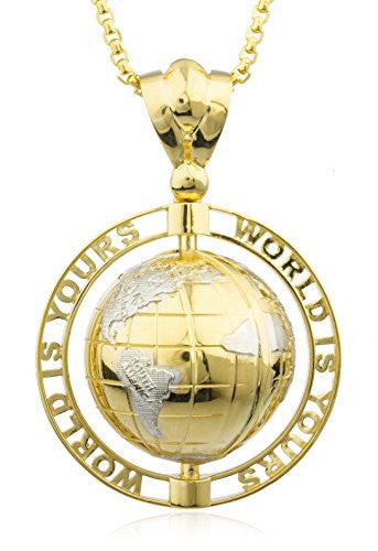 Real 14k Yellow Gold 'World Is Yours' Rotating Globe Pendant with a 2.4mm 24 Inch Round Box Chain Necklace