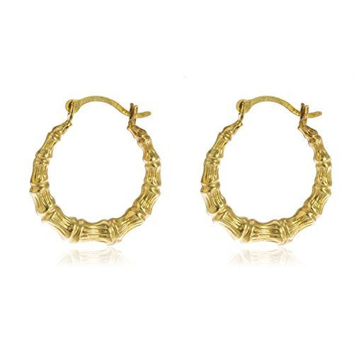 14K Yellow Gold Hoop Earrings Bamboo...