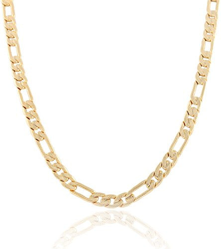 Goldtone 7mm Frosted Figaro Chain (8...
